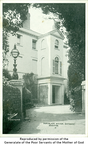 Black-and-white image of the Portslade Manor entrance, Brighton. Reproduced by permission of the Generalate of the Poor Servants of the Mother of God.